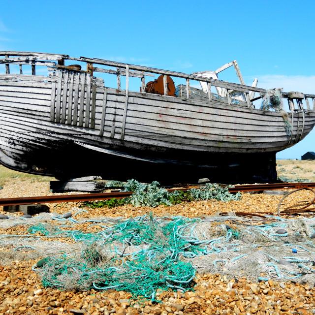 """""""Abandoned fishing boat"""" stock image"""