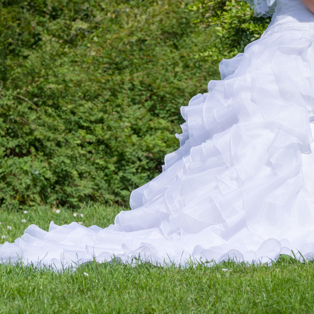 """White Wedding Dress in the Park Closeup"" stock image"