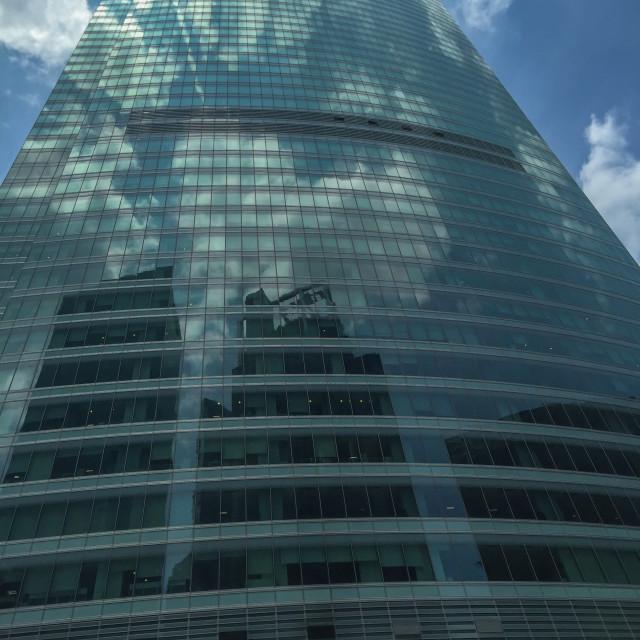 """Typical Singapore glass skyscraper"" stock image"