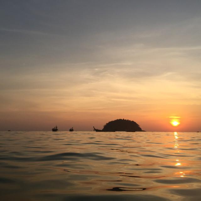 """Kata beach sunset island"" stock image"
