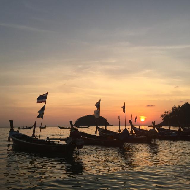 """Kata beach sunset boats"" stock image"