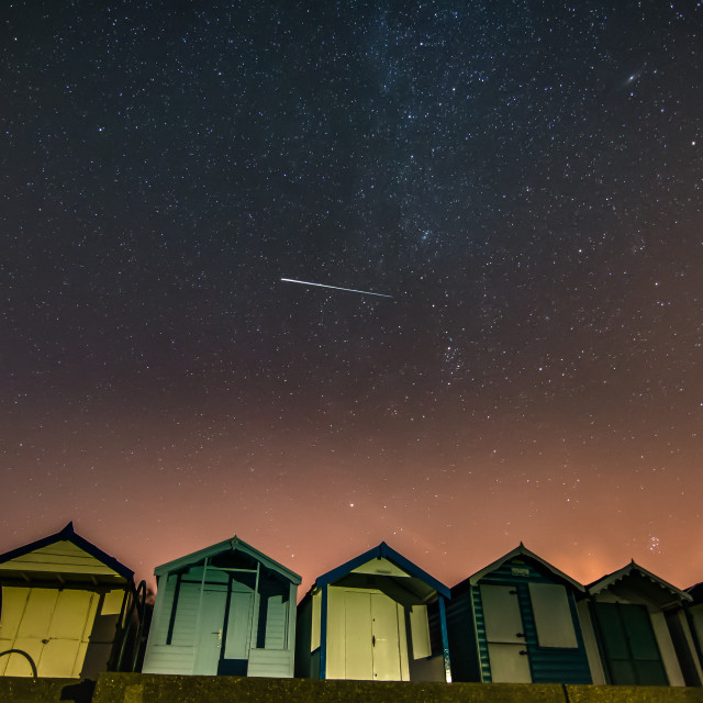 """Perseid meteor over Brightlingsea beach"" stock image"