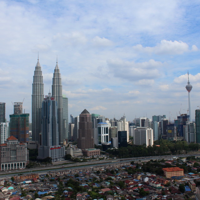 """KLCC twin tower and KL Tower the icons of Kuala Lumpur Malaysia"" stock image"