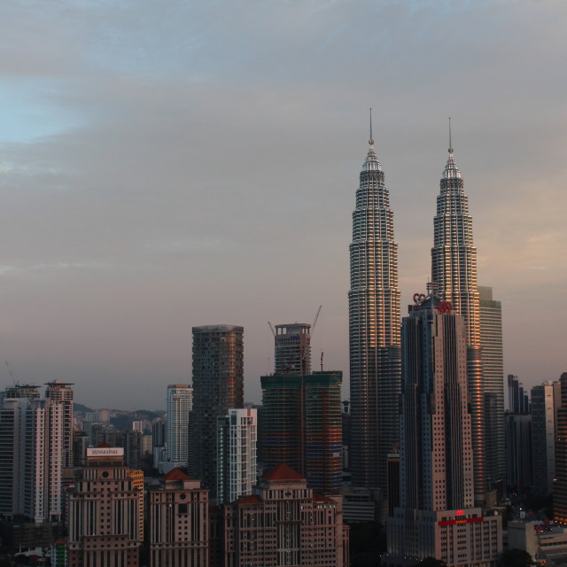 """""""KLCC twin tower at sunset"""" stock image"""