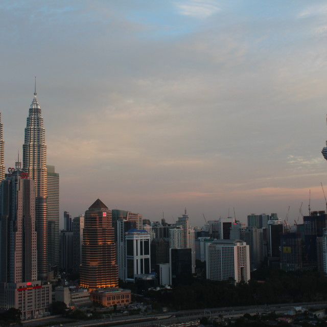 """KLCC twin tower and KL Tower at sunset"" stock image"