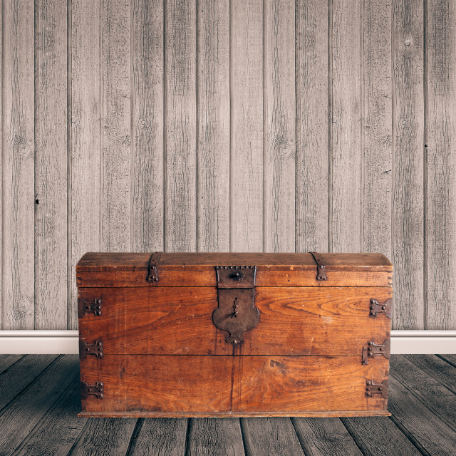 """Treasure chest on a wooden floor"" stock image"
