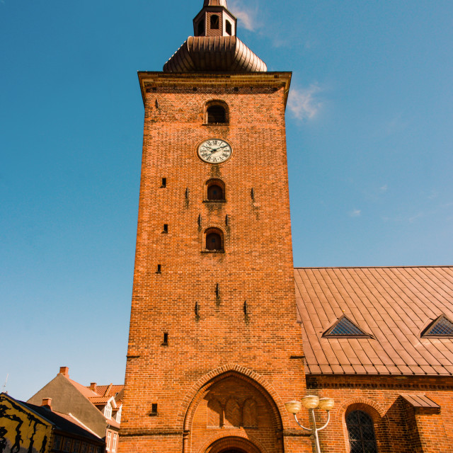 """""""Big church tower with a clock"""" stock image"""
