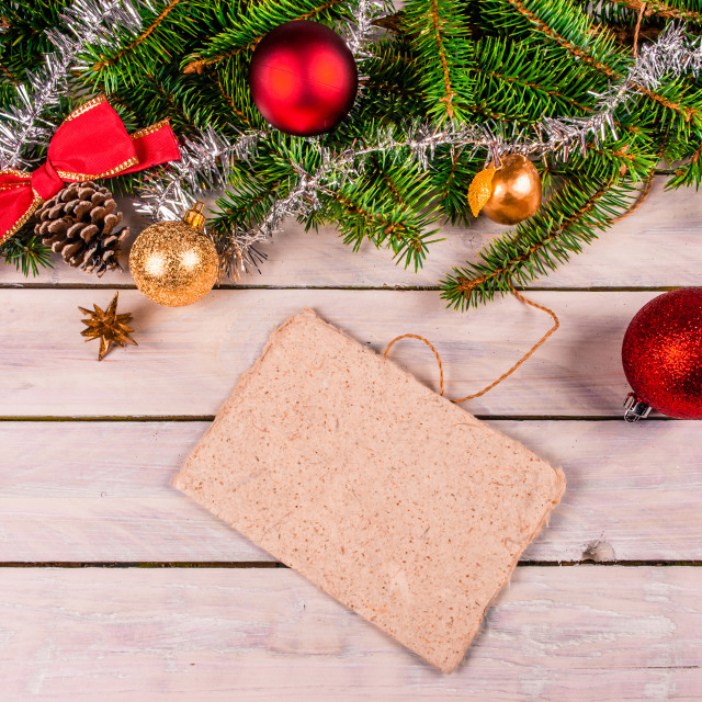 """Christmas card decoration on wood"" stock image"