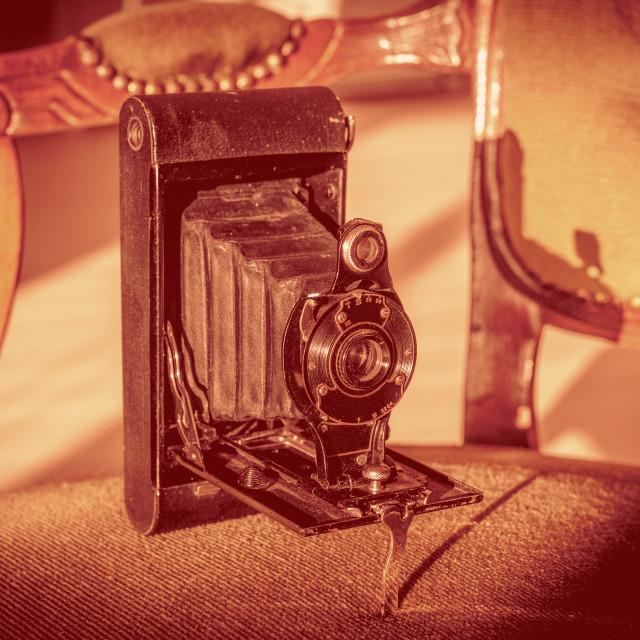 """Antique folding camera"" stock image"