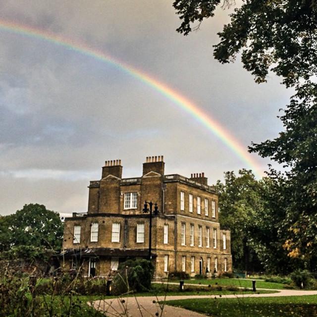 """Rainbow over Stoke Newington"" stock image"