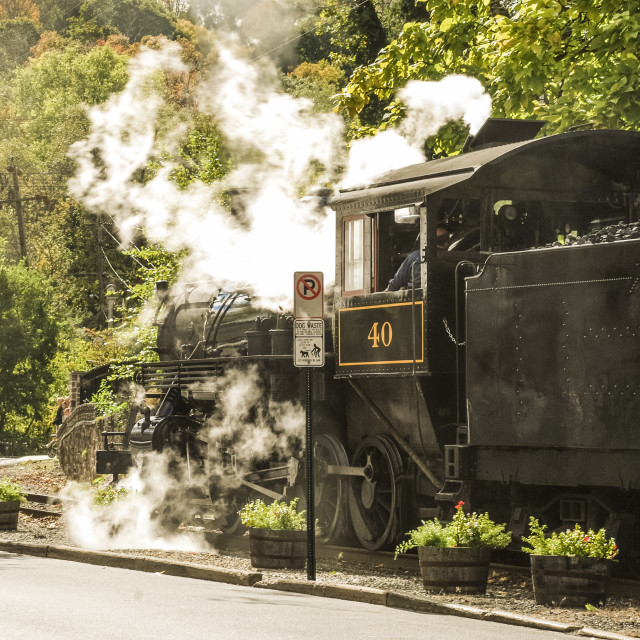 """Steam locomotive in New Hope"" stock image"