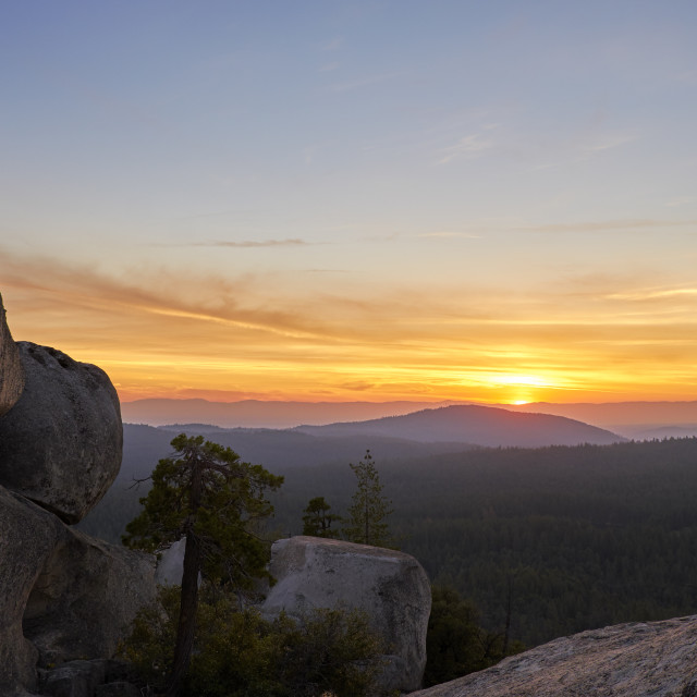 """Sunset landscape in the Sierra Nevadas."" stock image"