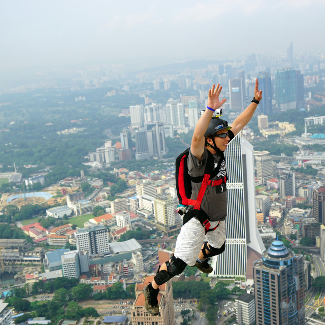 """I have make it, BASE jump"" stock image"
