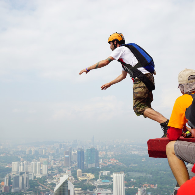 """I am start to jump from BASE jump KL Tower"" stock image"