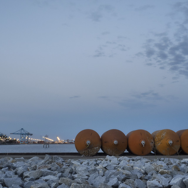 """Port of Los Angeles at Dusk"" stock image"