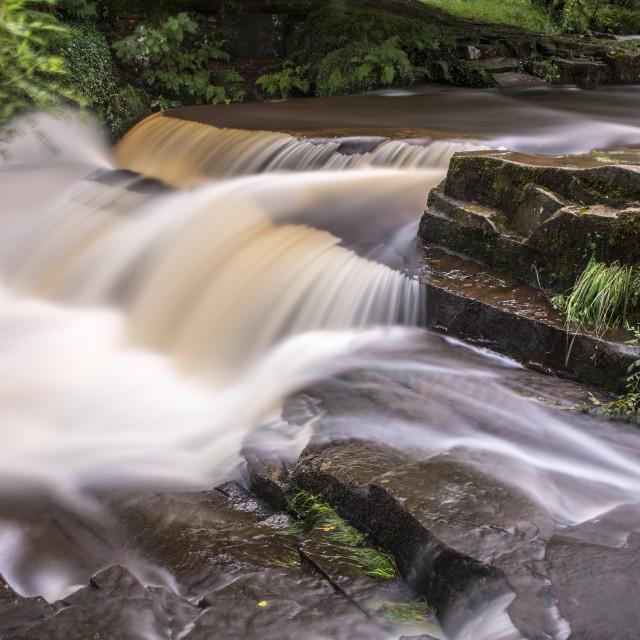 """Taf Fawr Waterfalls Llwyn-on Reservoir Brecon Beacons"" stock image"