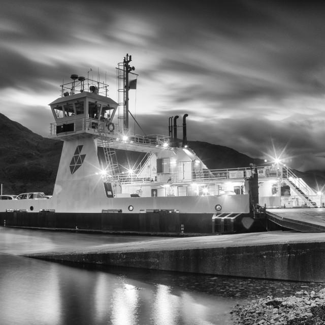"""""""Corran Narrows Ferry Mono."""" stock image"""