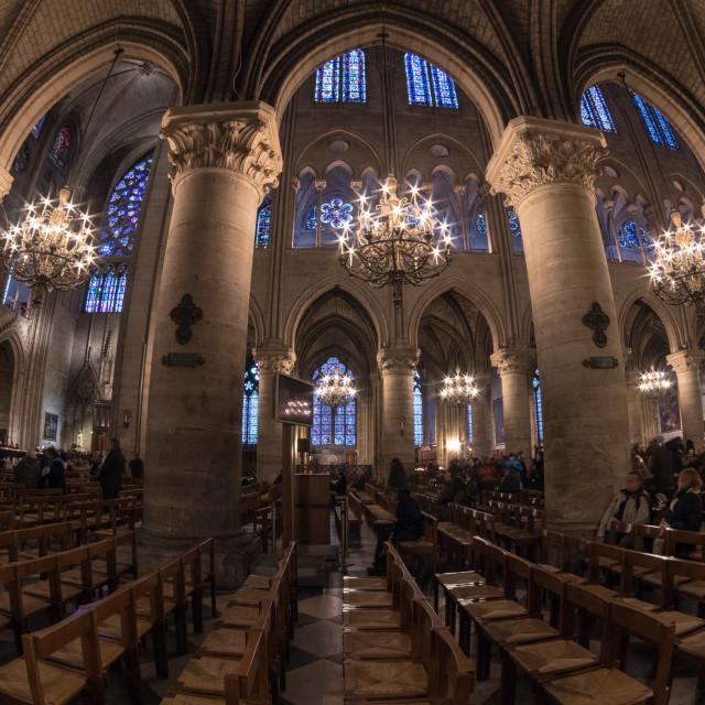 """Inside Notre Dame"" stock image"