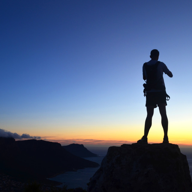 """Sunset Hiker"" stock image"