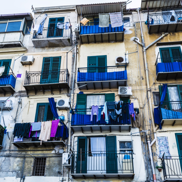 """Building exterior with windows and balconies in Palermo, Italy"" stock image"
