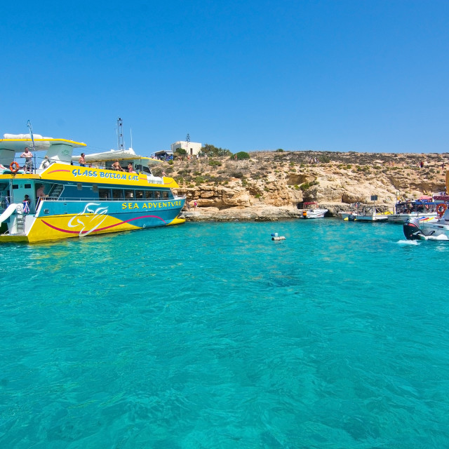 """""""Tour boats in Blue Lagoon"""" stock image"""