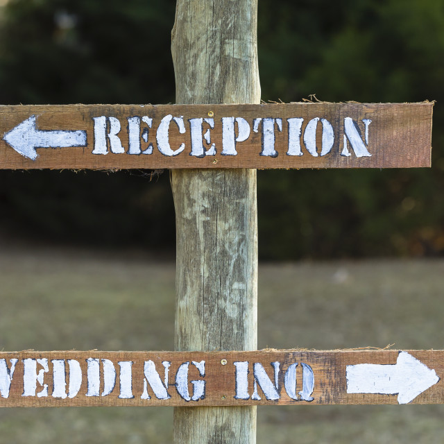 """Wedding Reception Signs Wood"" stock image"