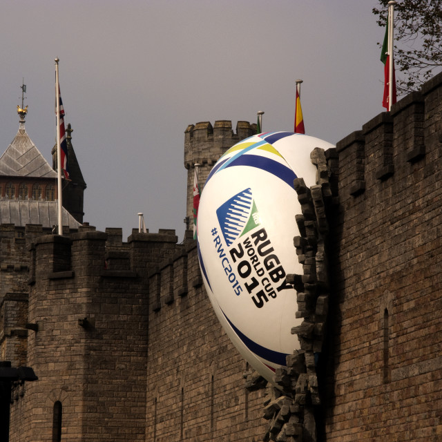 """Giant Rugby Ball - Cardiff Castle Wall"" stock image"
