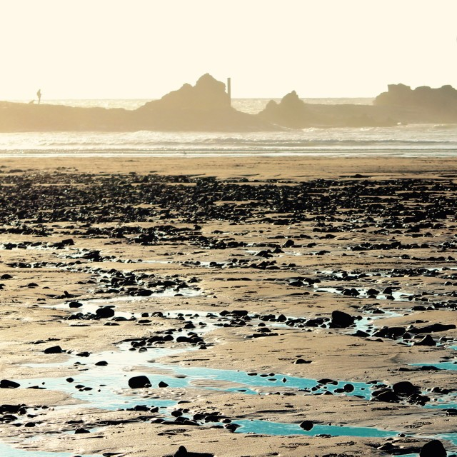 """Low tide at Bude"" stock image"