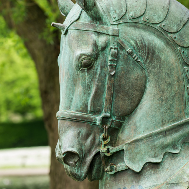 """Stained metal horse statue"" stock image"