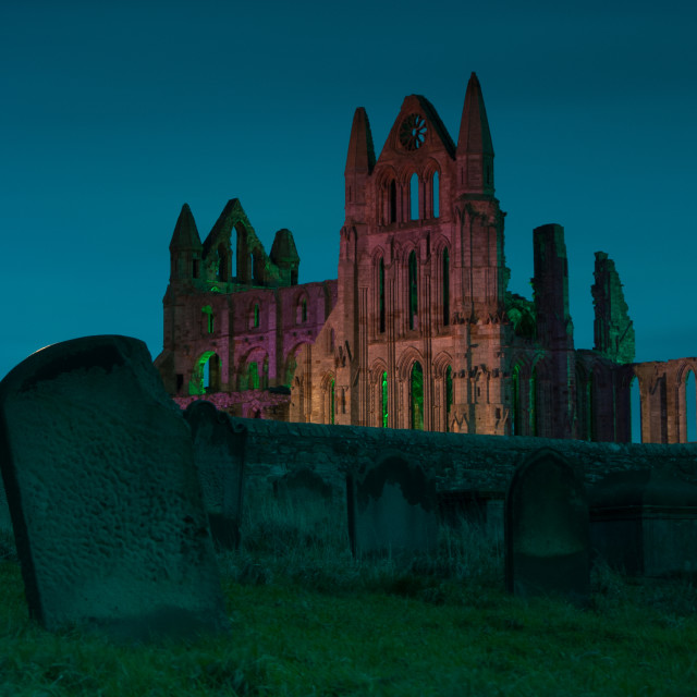 """Whitby Abbey illuminations"" stock image"