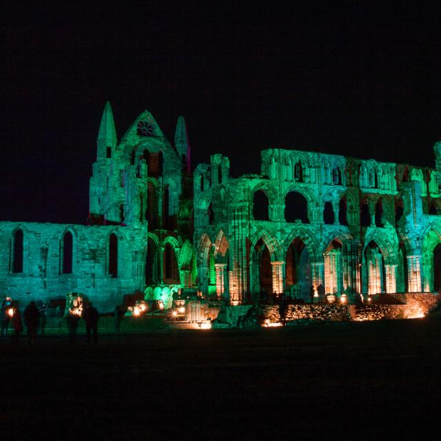 """Whitby Abbey illuminations"" stock image"