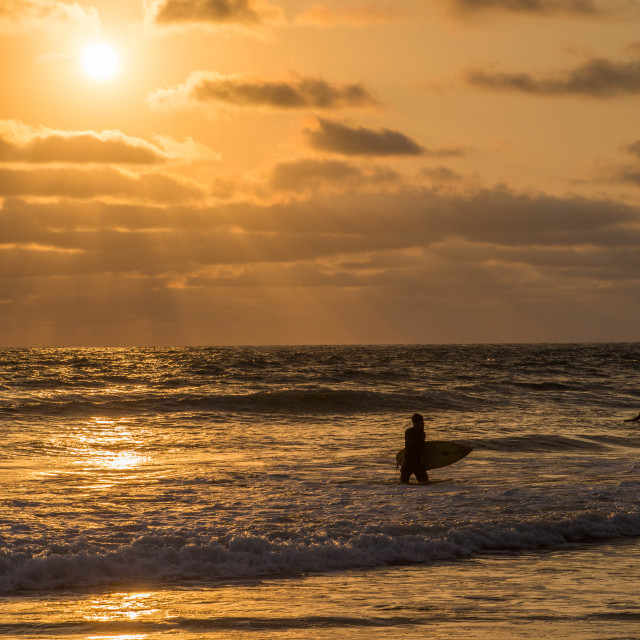 """surfer at sunset"" stock image"