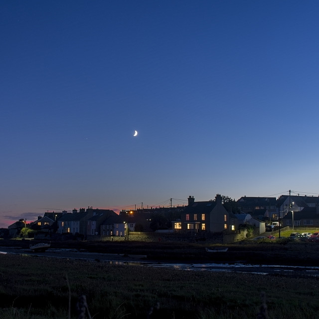 """Moon over Aberffraw."" stock image"