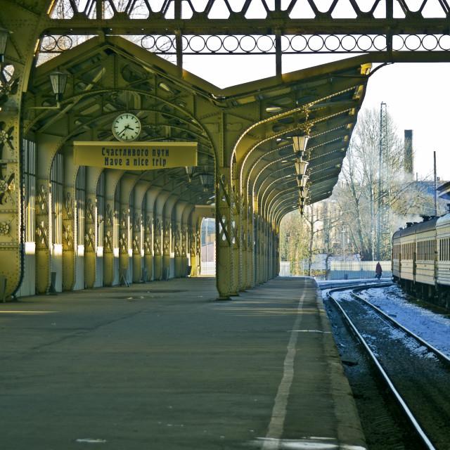 """Railroad station platform"" stock image"