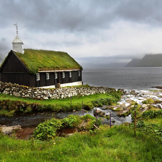 """Church at Funningur"" stock image"