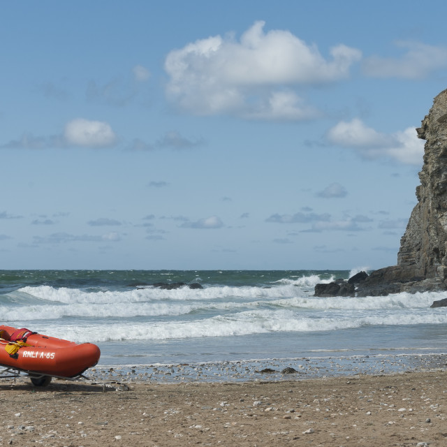 """""""Rescue dinghy on beach"""" stock image"""