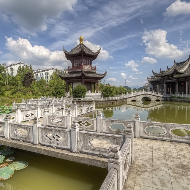 """View on Chinese pagoda near lake side."" stock image"
