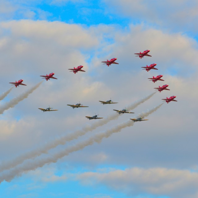 """Red Arrows and BBMF"" stock image"
