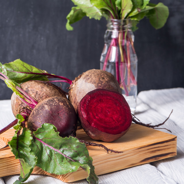 """Beetroots rustic wooden table"" stock image"