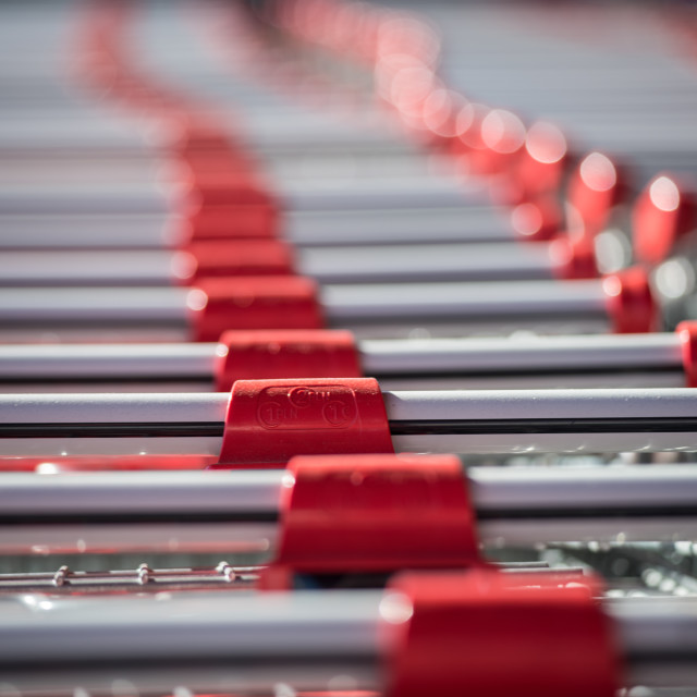 """""""Store carts in a row"""" stock image"""