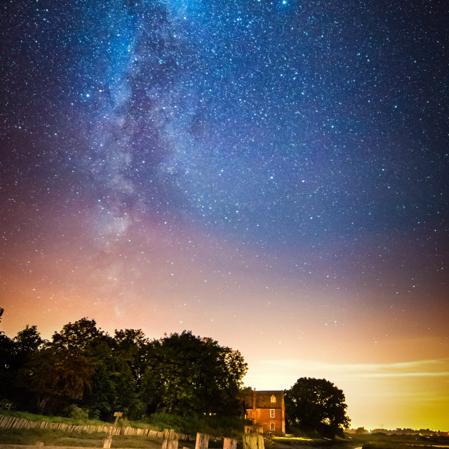 """Milky Way Over September Landermere Quay"" stock image"