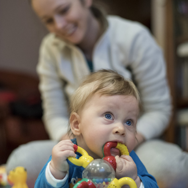"""""""Little boy Playing with her mother"""" stock image"""