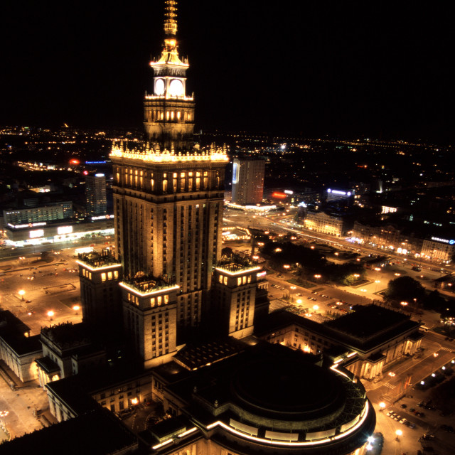 """""""Palace of Culture and Science in Warsaw by night"""" stock image"""
