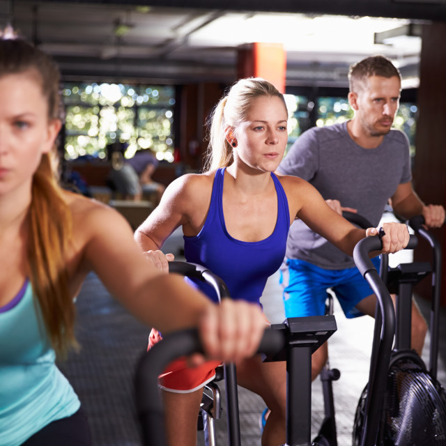 """""""Gym Class Working Out On Cross Trainers Together"""" stock image"""