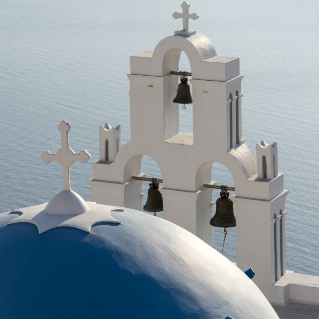 """""""Blue Dome and Belfry of Santorini Church"""" stock image"""