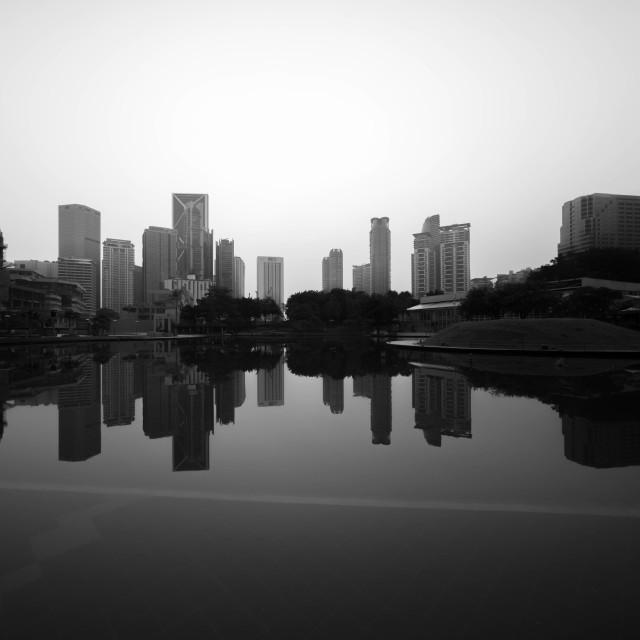"""""""Sunrise at Kuala Lumpur city with reflection"""" stock image"""