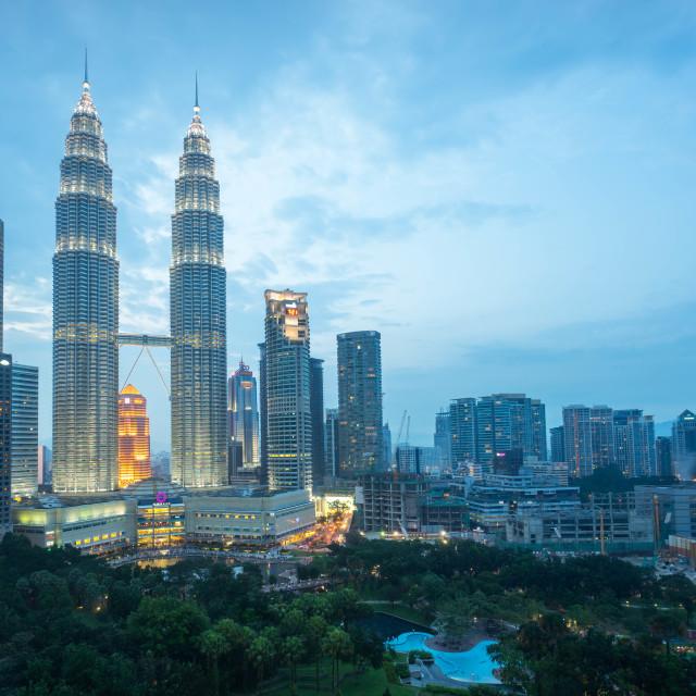 """Blue hour night at Kuala Lumpur skyline"" stock image"