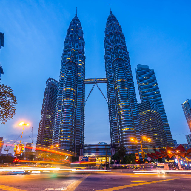 """""""Morning blue hour at Kuala Lumpur city centre junction"""" stock image"""