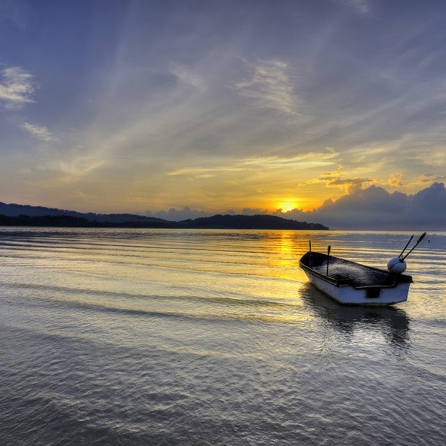 """A beautiful Sunset seen the fishing boat"" stock image"