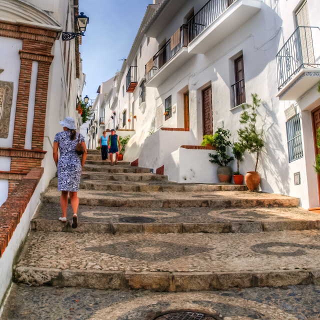 """view of a street in frigiliana, pueblo blanco, spain"" stock image"